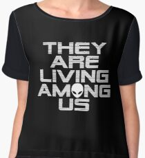 Aliens are living among us Women's Chiffon Top