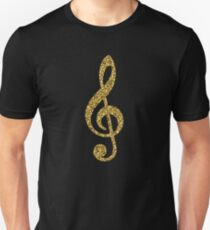 Gold Glitter Music Note Unisex T-Shirt
