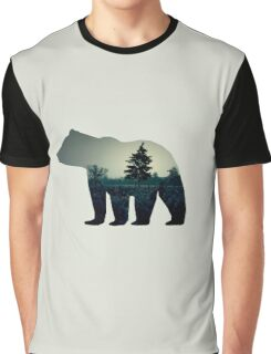 The bear illustration with photo of a dark forest. Grey background Graphic T-Shirt