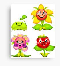 Art bloom botany cartoon character cheerful colorful comic design  Canvas Print