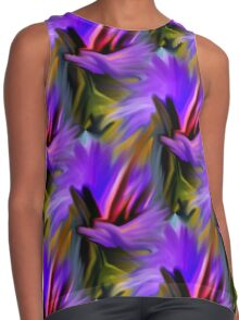 Purple Green  And Red  Abstract Strokes Contrast Tank