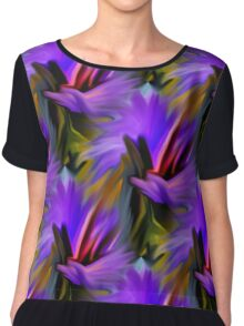 Purple Green  And Red  Abstract Strokes Women's Chiffon Top