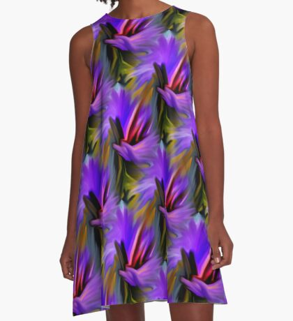 Purple Green  And Red  Abstract Strokes A-Line Dress