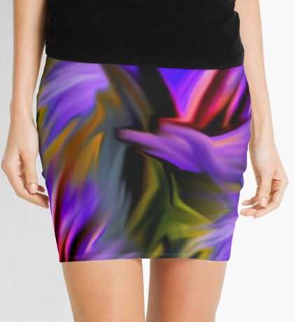 Purple Green  And Red  Abstract Strokes Mini Skirt