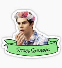 stiles stilinski flower crown sticker Sticker
