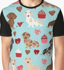 Dachsund dachsie doxie valentines day valentine hearts love cupcakes cute dog gifts Graphic T-Shirt
