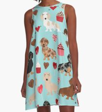 Dachsund dachsie doxie valentines day valentine hearts love cupcakes cute dog gifts A-Line Dress