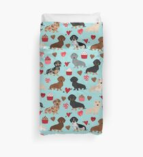 Dachsund dachsie doxie valentines day valentine hearts love cupcakes cute dog gifts Duvet Cover