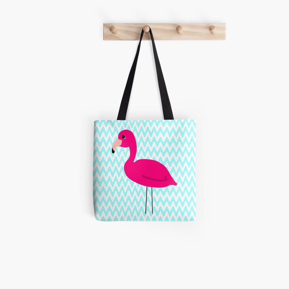 Pink Flamingo Teal Zig Zags Tote Bag