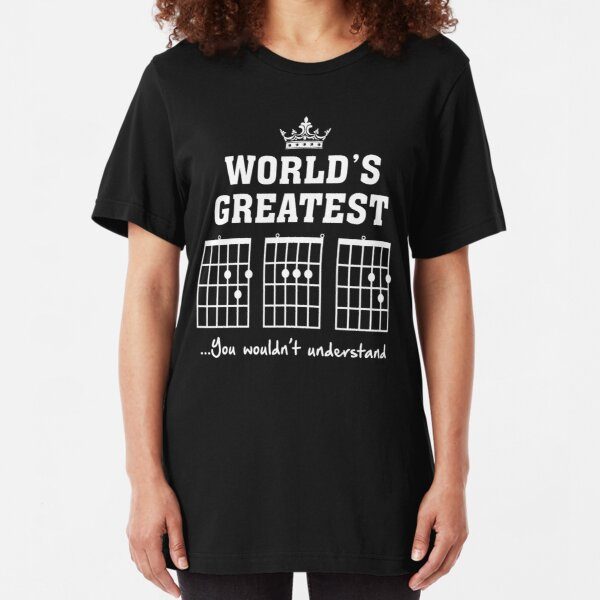 F chord DAD Funny Guitar Tee- Unique Father's Day Gift Slim Fit T-Shirt