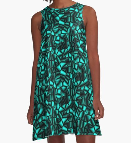 Geometric Turquoise Shapes Design A-Line Dress