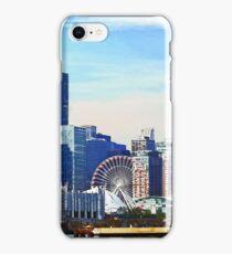 Chicago IL - Chicago Skyline and Navy Pier iPhone Case/Skin