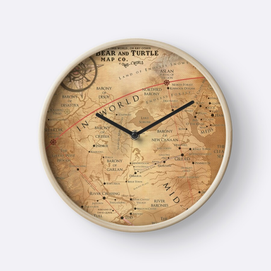 Buy World Map Clock. The Dark Tower  Mid World Map by OctoberFifteen Clocks Redbubble