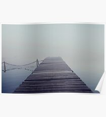 The wooden pier in the fog. Water landscape with mist. Dark, nostalgic landscape Poster