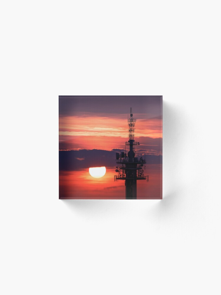 Alternate view of Steel tower with antennas with the beautiful red sunset as a background Acrylic Block