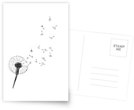 Schwarzweiss-Drucklöwenzahndruck-skandinavische unbedeutende Dekorwandkunst-Schwarzlöwenzahnauszugswandkunst-nordischer Designlöwenzahn von Nathan Moore