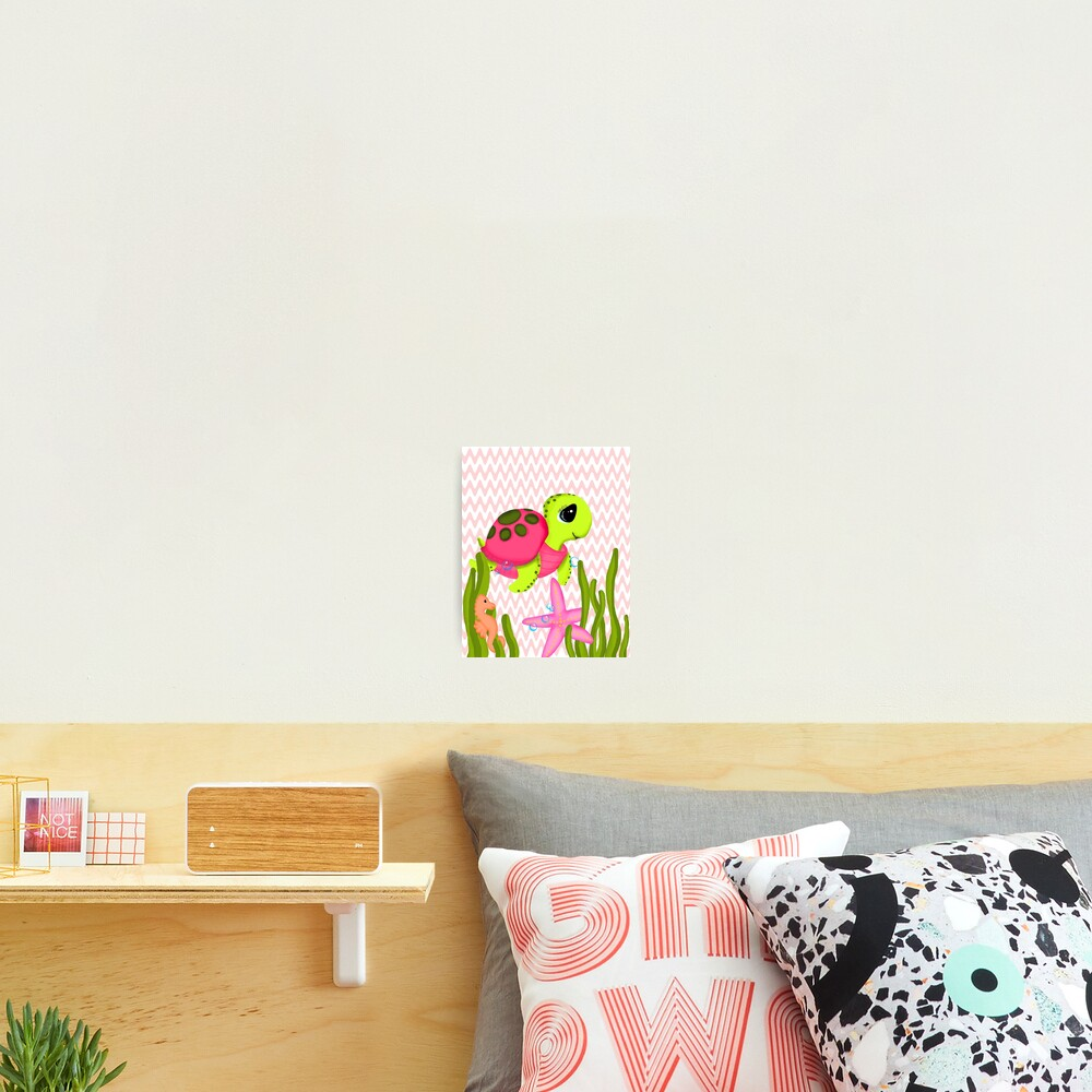 Pink Sea Turtle Zig Zags Photographic Print