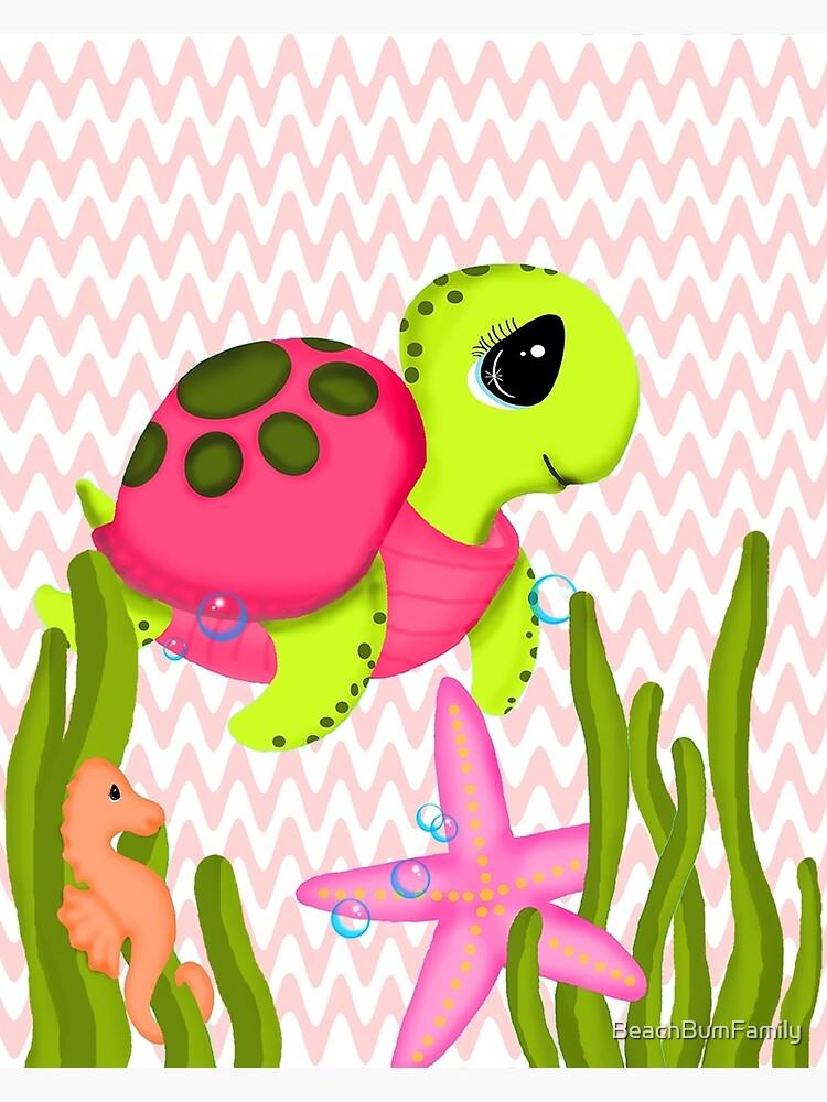 Pink Sea Turtle Zig Zags by BeachBumFamily