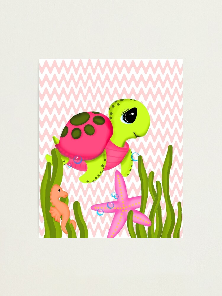 Alternate view of Pink Sea Turtle Zig Zags Photographic Print