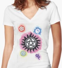 Supernatural Signs Women's Fitted V-Neck T-Shirt