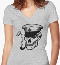 Skull Smoking a Pipe Women's Fitted V-Neck T-Shirt