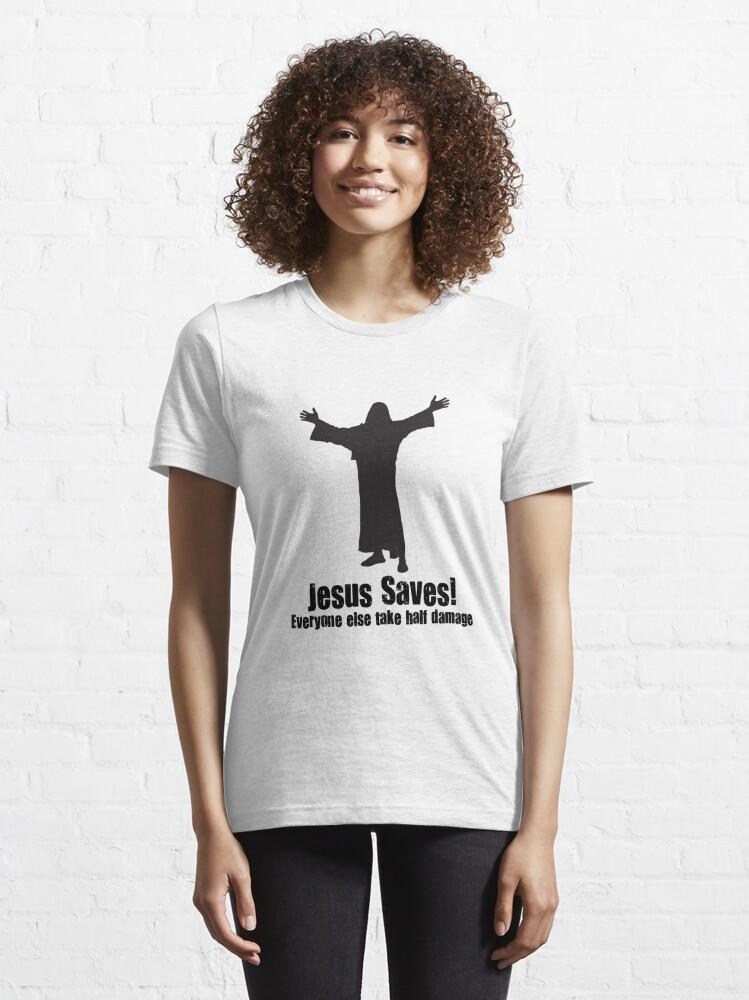 Alternate view of Jesus saves DnD Essential T-Shirt