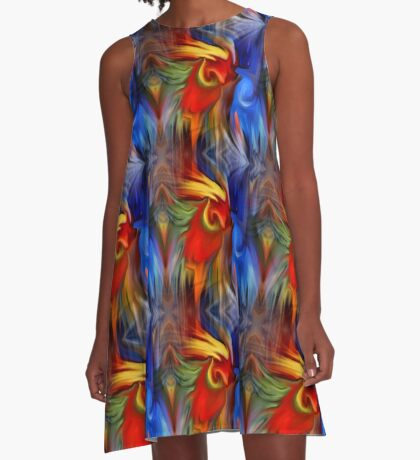 Abstract Red Blue Yellow Green Design A-Line Dress