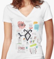 The Mortal Instruments collage Women's Fitted V-Neck T-Shirt