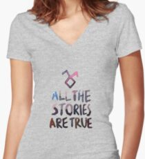All the stories are true (watercolor) Women's Fitted V-Neck T-Shirt