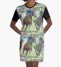 At The Horse Races, Horse Picture Graphic T-Shirt Dress