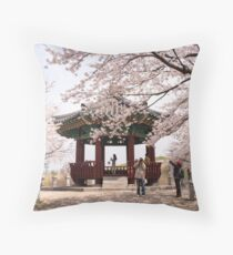 Cherry Blossoms in Seoul's Olympic Park Throw Pillow