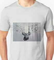 The deer head with forest colorful double exposure effect (green wood). Deer horns with flowers and birds Unisex T-Shirt
