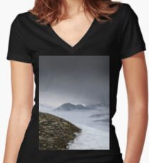 Dark mountain landscape. Snowy mountains in the deep fog. No Man's land Women's Fitted V-Neck T-Shirt