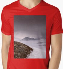 Dark mountain landscape. Snowy mountains in the deep fog. No Man's land Mens V-Neck T-Shirt