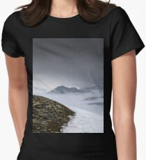 Dark mountain landscape. Snowy mountains in the deep fog. No Man's land T-Shirt