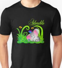 Cute Adorable Funny Elephant in Green grass with butterflies Unisex T-Shirt