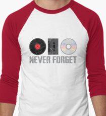 Never Forget Old Audio Formats Men's Baseball ¾ T-Shirt