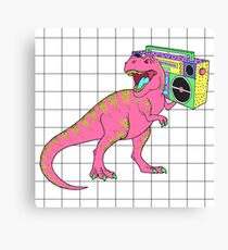 Tyrannosaurus rex with boombox in retro 80s style Canvas Print