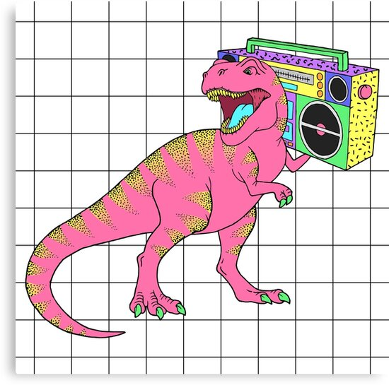 Tyrannosaurus rex with boombox in retro 80s style by pineapple-vika