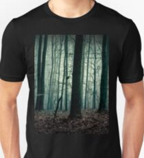 Trees silhouettes. Dark forest landscape. Gloomy and horror scenery T-Shirt