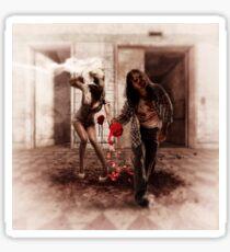 Happy Bride and Zombie Groom Sticker
