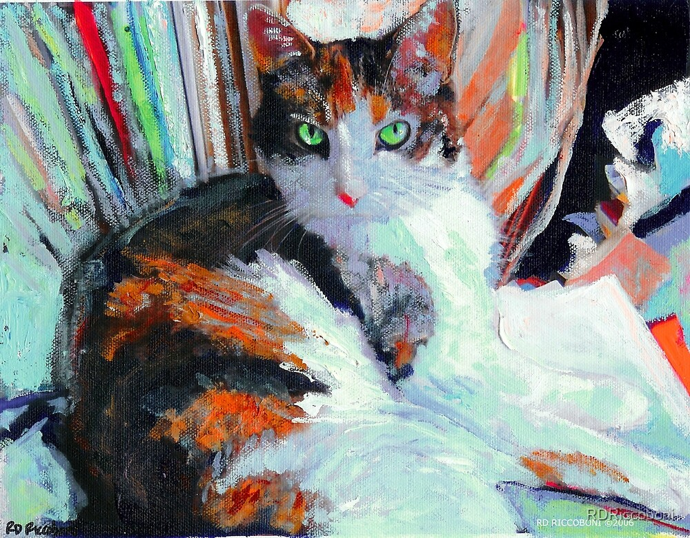 Day At the Office, Portrait of Allie, Calico Cat by RDRiccoboni