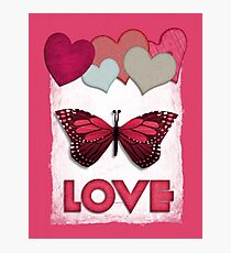 pink butterfly love Photographic Print