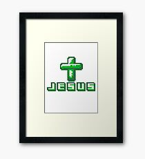 cool pixel gamer retro 8 bit muster kreuz christ logo design text schriftzug jesus christus  Framed Print