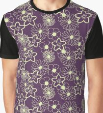 Stunning Glowing Flowers in Plum and Yellow Graphic T-Shirt