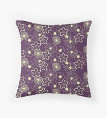 Stunning Glowing Flowers in Plum and Yellow Throw Pillow