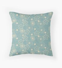 Stunning Glowing Flowers in Baby Blue and Cream Throw Pillow