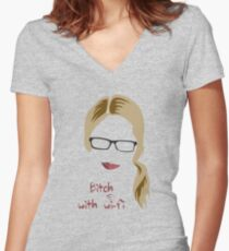 Bitch with Wi-fi Women's Fitted V-Neck T-Shirt