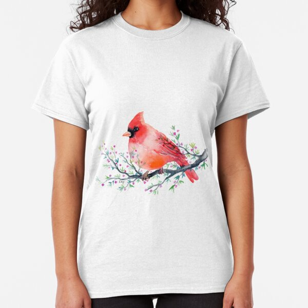 Watercolour red cardinal bird Classic T-Shirt