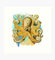 Cool Octopus - Sea Ocean or Navy Style Cartoon Drawing Art Print